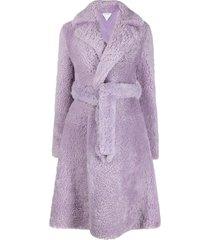 bottega veneta oversized belted textured coat - purple