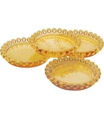 conjunto 4 pratos cristal pearl âmbar 10cm