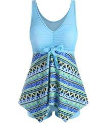 mesh panel geo print tankini swimwear