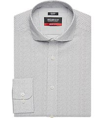 awearness kenneth cole awear-tech black patterned slim fit dress shirt