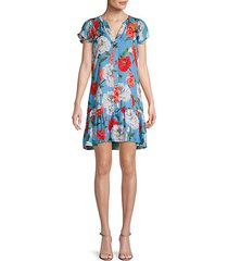 floral-print silk-blend shift dress