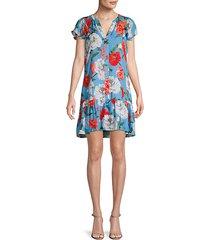 floral-print silk-blend shift dress