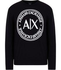 ax armani exchange circle logo long sleeve crew neck pullover