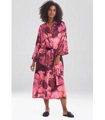 natori canyon lotus satin long sleep & lounge bath wrap robe, women's, size s