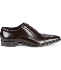 brogue cap-toe leather oxfords