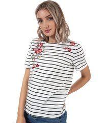 only womens mona striped t-shirt size 6-8 in white
