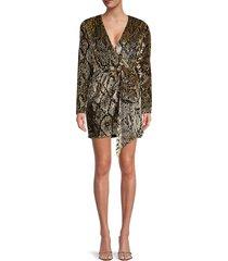 retrofête women's eleanor python-print wrap dress - gold snake - size s
