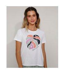 "camiseta feminina tropical dreams"" manga curta decote redondo off white"""