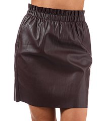 womens riley ruffle faux leather skirt