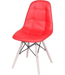 cadeira eames botonê com base em madeira 43x44cm vermelha
