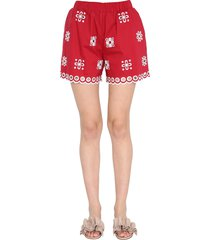 red valentino shorts with embroidered cut out