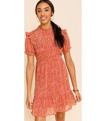 women's aleah high neck swing dress in rust by francesca's - size: l