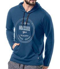 camiseta manga longa c/ capuz no stress azul - kanui