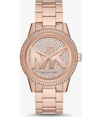 mk orologio ritz oversize tonalità oro rosa con logo e pavé - oro rosa (oro rosa) - michael kors