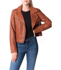 women's blanknyc good vibes faux leather moto jacket, size x-small - brown