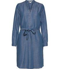dresses denim knälång klänning blå esprit casual
