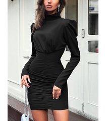 padded shoulder design ruched dress