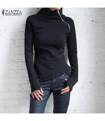 zanzea de las señoras de la cremallera del collar sólido ocasional tops sudaderas sudaderas con capucha suéter negro -negro