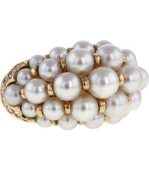 cartier 1990s pre-owned yellow gold, pearl and diamond ring -