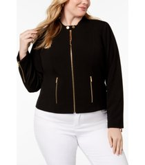 calvin klein plus size lux stretch zip-front jacket