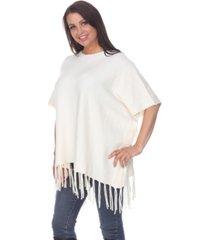 white mark women's megara side buttoned fringe poncho