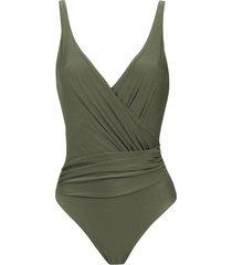 lygia & nanny maísa wrap style swimsuit - green