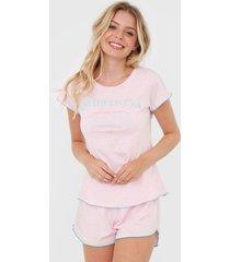 short-doll cor com amor amorxilina rosa - rosa - feminino - algodã£o - dafiti