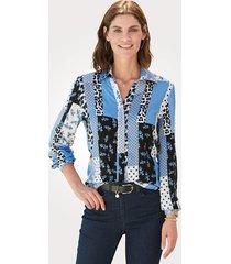 blouse mona blauw::ecru
