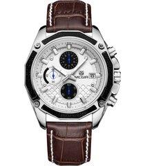 il quarzo impermeabile degli uomini di lusso 30m guarda gli orologi di affari luminosi di piccoli calendari classici del calendario