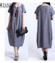zanzea verano de las mujeres vestido sólido floja ocasional más el tamaño s-5xl de manga corta del o-cuello vestidos vestidos (azul) -azul
