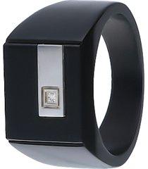anello in acciaio bicolore nero e grigio per uomo