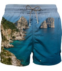 capri photographic print swim shorts
