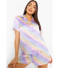 pastel gestreepte satijnen pyjama set met shorts, multi