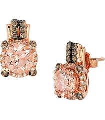 le vian women's chocolatier® 14k strawberry gold®, peach morganite™, chocolate diamonds® & vanilla diamonds® earrings