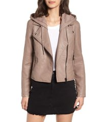 women's blanknyc meant to be moto jacket with removable hood, size small - grey