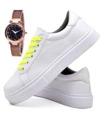tênis sapatênis casual fashion com relógio gold feminino dubuy 310el branco