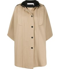 see by chloé button-up cape - neutrals