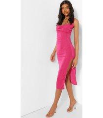 tall strakke midi jurk met waterval hals en zijsplit, hot pink