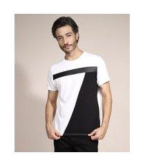 camiseta slim com recortes manga curta gola careca branco