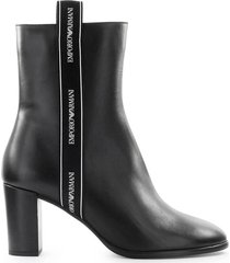 emporio armani ribbon white logo black heleed bootie