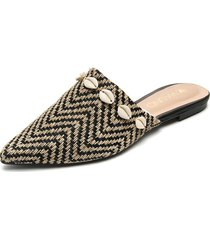 slipper beige-negro via uno