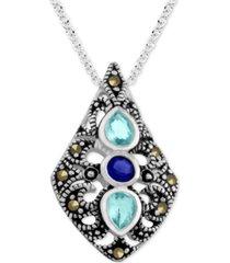"genuine swarovski marcasite & aqua crystal pendant 18"" necklace in fine silver-plate"