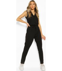 slouch jumpsuit met zachte knoopriem, zwart