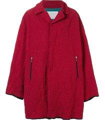 kolor crocodile embossed shell coat - red