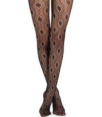 calzedonia - floral fishnet tights, m/l, black, women