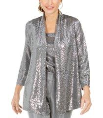 kasper petite open-front metallic jacket