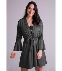 hobby roupão bravaa modas robe amarrar lingerie 241 preto