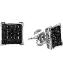 men's black diamond earrings (1/4 ct. t.w.) in stainless steel