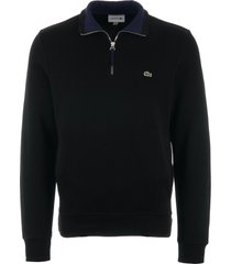lacoste half zip ribbed sweatshirt - black sh4288