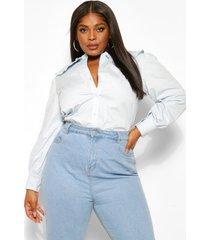 plus poplin blouse met grote kraag, light blue